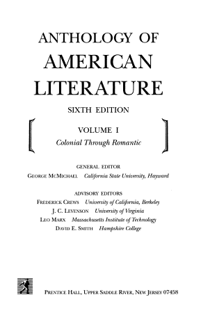 Anthology of American Literature  Colonial through romantic PDF