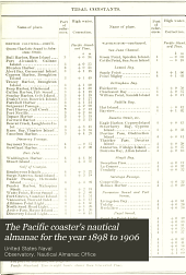 The Pacific Coaster's Nautical Almanac for the Year 1898 to 1906