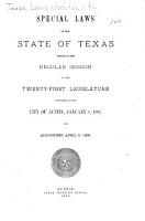 Special Laws Passed by the     Legislature of the State of Texas PDF