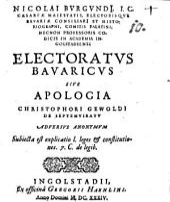 Electoratus Bavaricus Sive Apologia Christophori Gewoldi De Septemviratu Adversus Anonymum