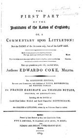 Notes on Lord Coke's First Institute, Or Commentary Upon Littleton
