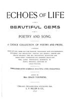 Echoes of Life Or  Beautiful Gems of Poetry and Song PDF