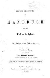 Kritisch exegetisches Handbuch über den Brief an die Epheser