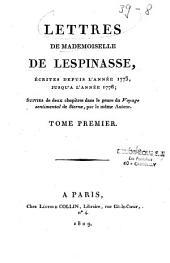 Lettres de Mademoiselle de lespinasse: écrites depuis l'année 1773 jusqu'à l'année 1776