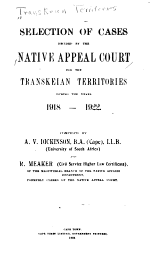 Reports of Cases Decided in the Native Courts of the Transkeian Territories PDF