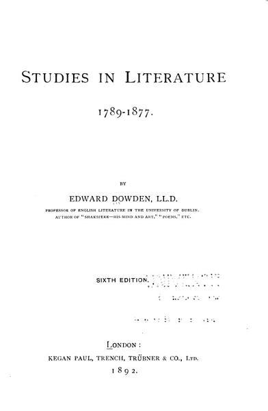 Download Studies in Literature  1789 1877 Book