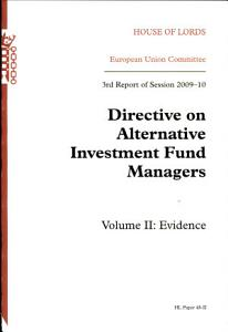 Directive on alternative investment fund managers Book