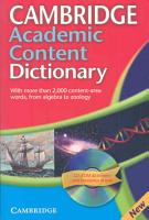 Cambridge Academic Content Dictionary Reference Book with CD ROM PDF