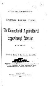 Annual Report, Connecticut Agricultural Experiment Station for ...
