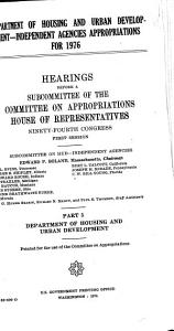 Department of Housing and Urban Development independent Agencies Appropriations for 1976