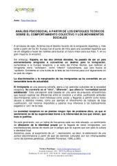 ANÁLISIS PSICOSOCIAL A PARTIR DE LOS ENFOQUES TEÓRICOS SOBRE EL COMPORTAMIENTO COLECTIVO Y LOS MOVIMIENTOS SOCIALES
