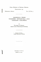 Mammals from Western Venezuela and Eastern Colombia