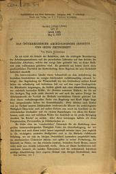 Das Österreichische Archäologische Institut und seine Zeitschrift