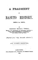 A Fragment of Basuto History  1854 to 1871 PDF