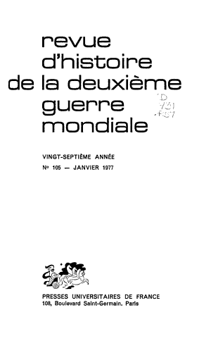 Revue d histoire de la deuxi  me guerre mondiale PDF