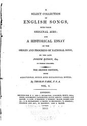 A Select Collection Of English Songs With Their Original Airs Love Songs Book PDF