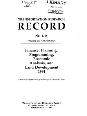 Finance  Planning  Programming  Economic Analysis  and Land Development  1991 PDF