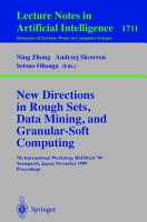 New Directions in Rough Sets  Data Mining  and Granular Soft Computing PDF