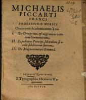 Orationum academicarum trias