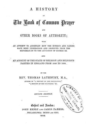 A History of the Book of Common Prayer and Other Books of Authority PDF