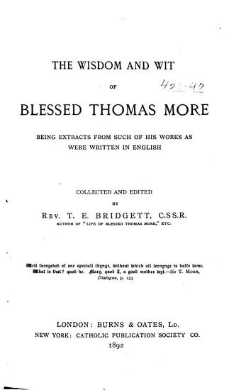 The Wisdom and Wit of Blessed Thomas More PDF