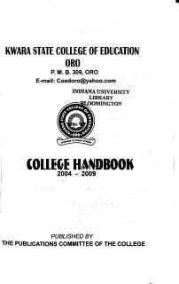 College Handbook Book