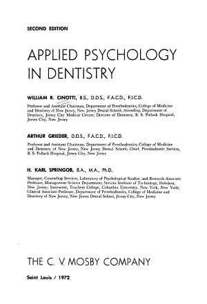 Applied Psychology in Dentistry PDF
