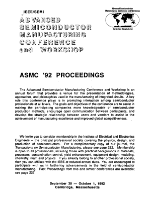 IEEE SEMI Advanced Semiconductor Manufacturing Conference and Workshop PDF