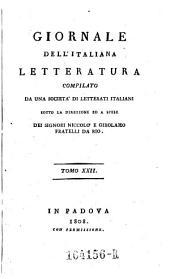Giornale dell'Italiana letteratura: Volume 22