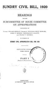 Sundry Civil Bill,1920, Hearings . . . 65th Congress, 3d Session