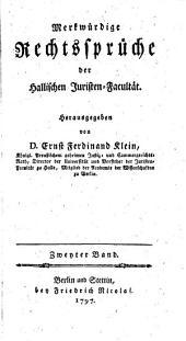 Merkwürdige Rechtssprüche der Hallischen Juristen-Facultät: Band 2