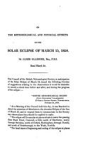 On the meteorological and physical effects of the solar eclipse of March 15  1858 PDF