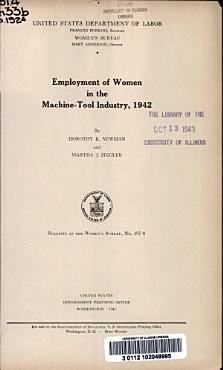 Employment of Women in the Machine tool Industry  1942 PDF