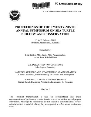 Proceedings of the Twenty ninth Annual Symposium on Sea Turtle Biology and Conservation