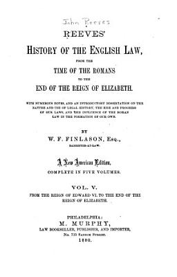 Reeves  History of the English Law PDF