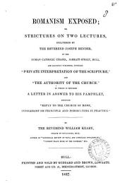 Romanism exposed; or, Strictures on two lectures, delivered by ... Joseph Render: Volume 8