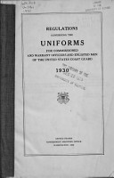 Regulations Governing the Uniforms for Commissioned and Warrant Officers and Enlisted Men of the United States Coast Guard  1930 PDF