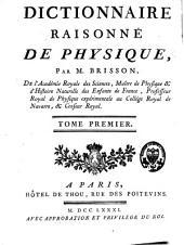 Dictionnaire raisonné de physique: avec planches, Volume1