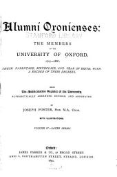 Alumni Oxonienses: the Members of the University of Oxford, 1715-1886: Their Parentage, Birthplace, and Year of Birth, with a Record of Their Degrees: Sabin-Zouch