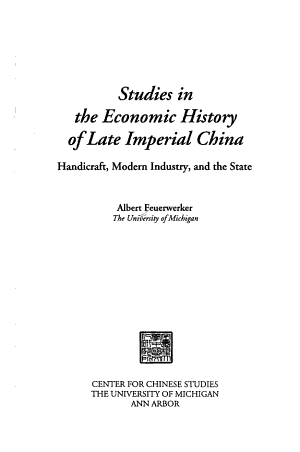 Studies in the Economic History of Late Imperial China PDF