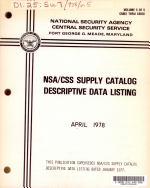 NSA/CSS supply catalog descriptive data listing
