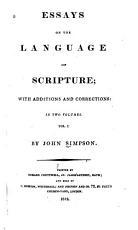 Essays on the Language of Scripture PDF