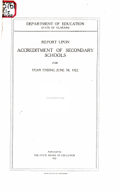 Report Upon Accreditment of Secondary Schools