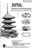 Japan  Analytical Bibliography with Supplementary Research Aids and Selected Data On  Okinawa  Republic of China  Taiwan   Republic of Korea PDF