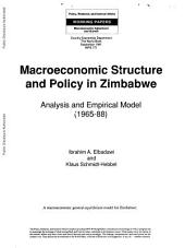 Macroeconomic Structure and Policy in Zimbabwe: Analysis and Empirical Model (1965-88)