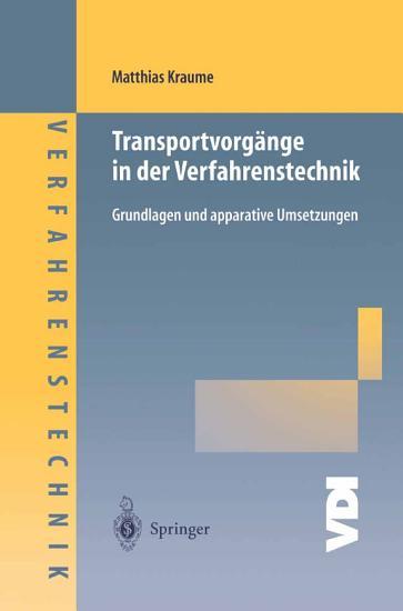 Transportvorg  nge in der Verfahrenstechnik PDF