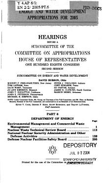 Energy and Water Development Appropriations for 2005 PDF