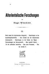 Altorientalische Forschungen: Band 3