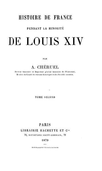 Download Histoire de France Pendant la Minorit   de Louis XIV Book