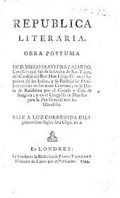 Republica Literaria. Obra postuma. (Prefacion de D. Gregorio Mayans i Siscar.)